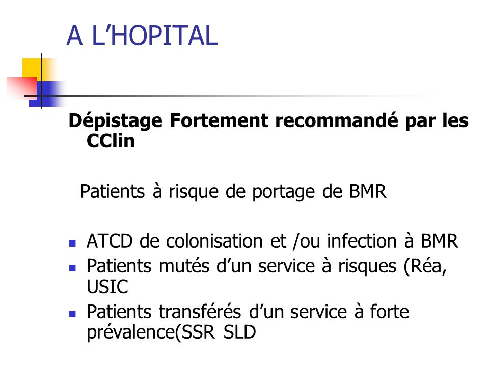 A LHOPITAL Dépistage Fortement recommandé par les CClin Patients à risque de portage de BMR ATCD de colonisation et /ou infection à BMR Patients mutés