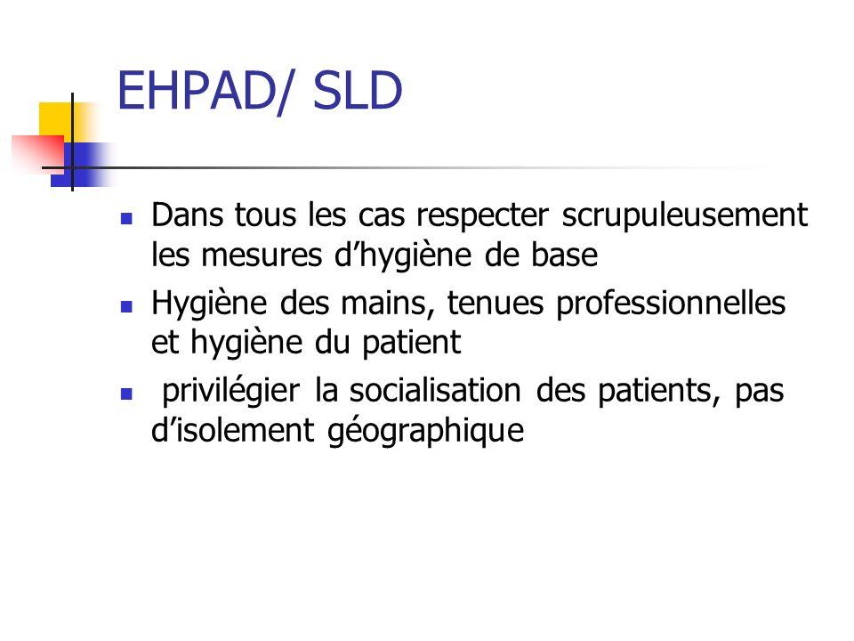 EHPAD/ SLD Dans tous les cas respecter scrupuleusement les mesures dhygiène de base Hygiène des mains, tenues professionnelles et hygiène du patient p