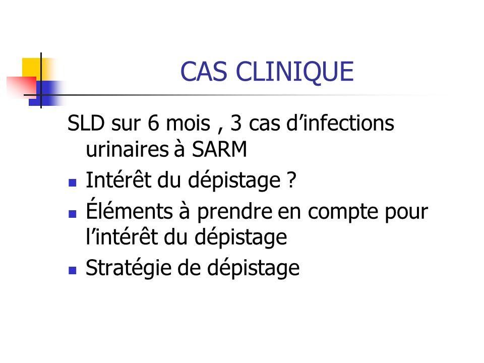 CAS CLINIQUE SLD sur 6 mois, 3 cas dinfections urinaires à SARM Intérêt du dépistage ? Éléments à prendre en compte pour lintérêt du dépistage Stratég