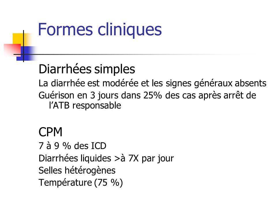 Formes cliniques Diarrhées simples La diarrhée est modérée et les signes généraux absents Guérison en 3 jours dans 25% des cas après arrêt de lATB res