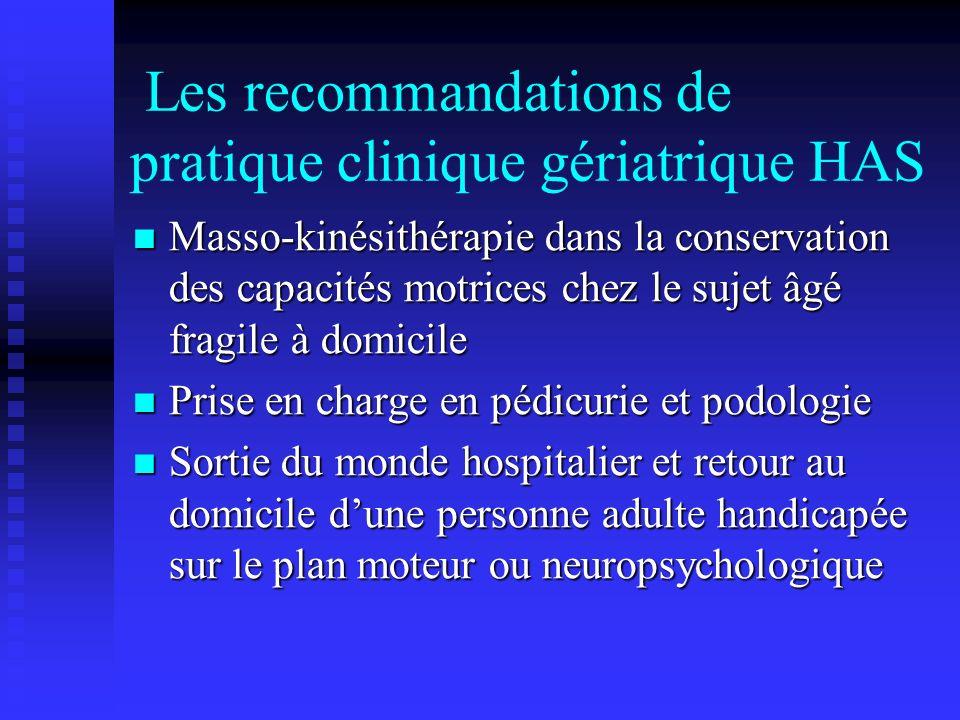 Les recommandations de pratique clinique gériatrique HAS Masso-kinésithérapie dans la conservation des capacités motrices chez le sujet âgé fragile à