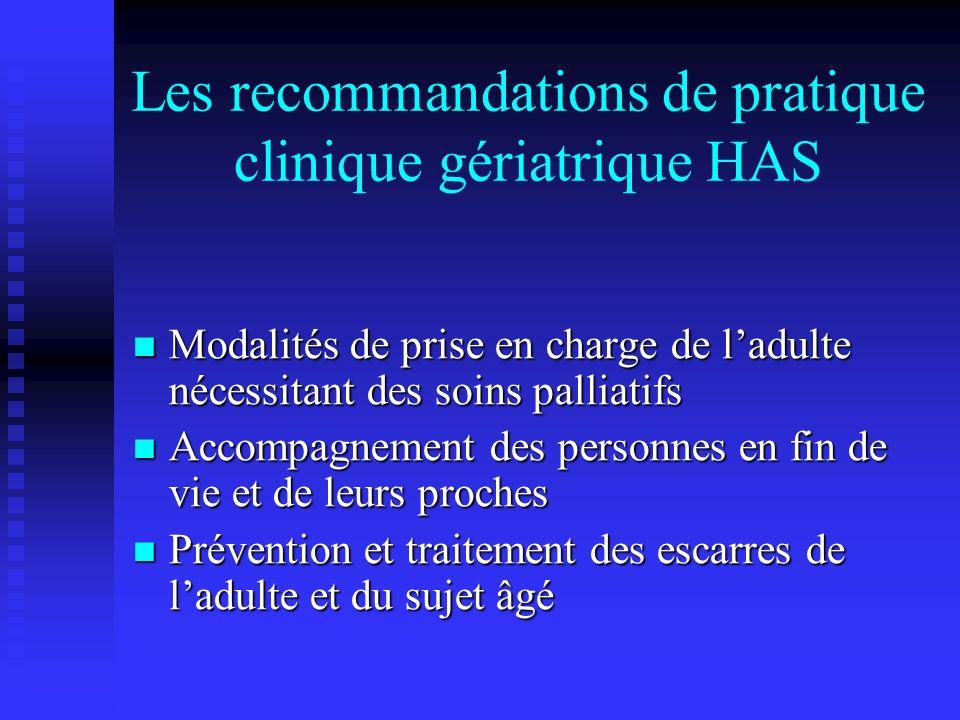 Les recommandations de pratique clinique gériatrique HAS Modalités de prise en charge de ladulte nécessitant des soins palliatifs Modalités de prise e