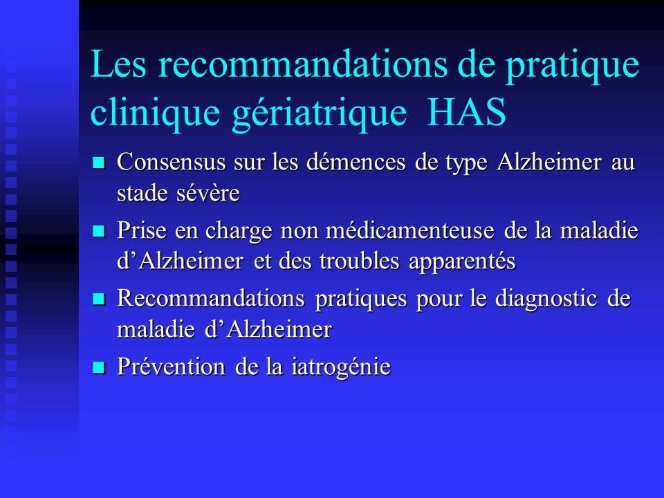 Les recommandations de pratique clinique gériatrique HAS Consensus sur les démences de type Alzheimer au stade sévère Consensus sur les démences de ty