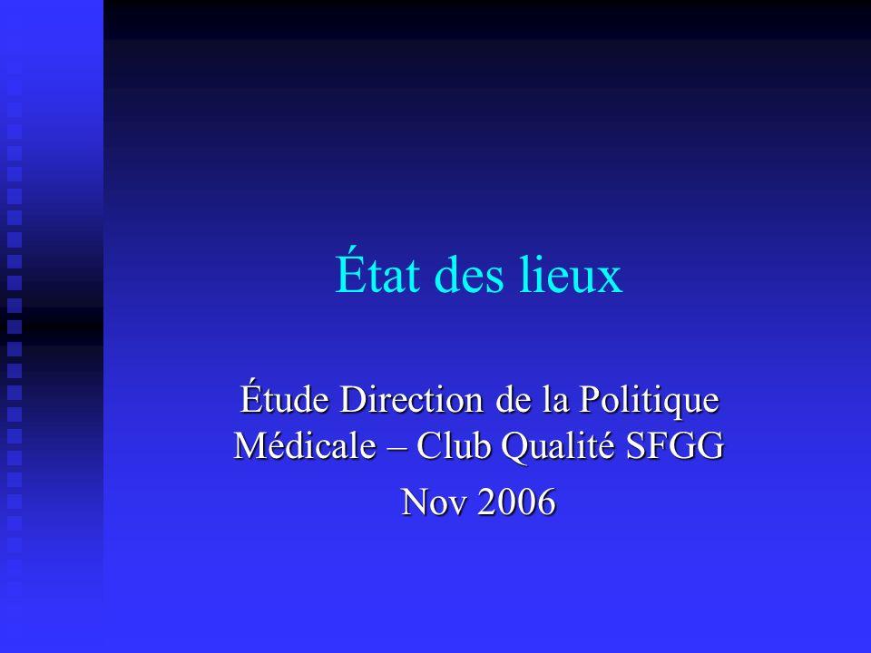 État des lieux Étude Direction de la Politique Médicale – Club Qualité SFGG Nov 2006