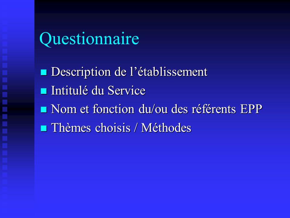 Questionnaire Description de létablissement Description de létablissement Intitulé du Service Intitulé du Service Nom et fonction du/ou des référents