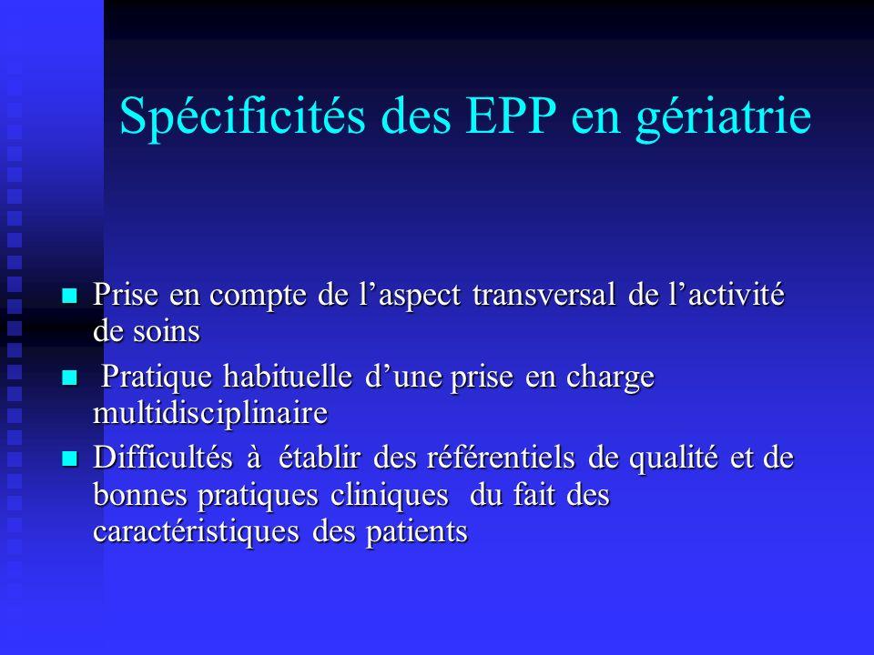 Spécificités des EPP en gériatrie Prise en compte de laspect transversal de lactivité de soins Prise en compte de laspect transversal de lactivité de