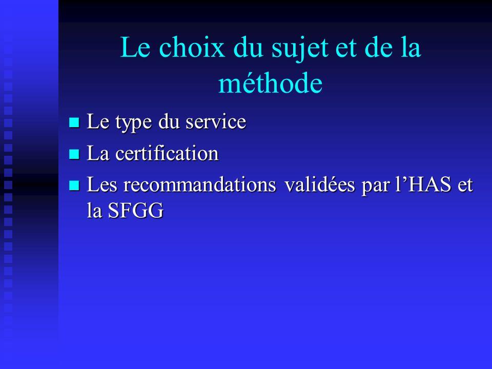 Le choix du sujet et de la méthode Le type du service Le type du service La certification La certification Les recommandations validées par lHAS et la
