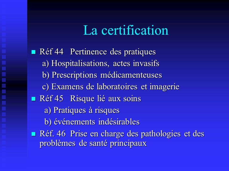 La certification Réf 44 Pertinence des pratiques Réf 44 Pertinence des pratiques a) Hospitalisations, actes invasifs a) Hospitalisations, actes invasi