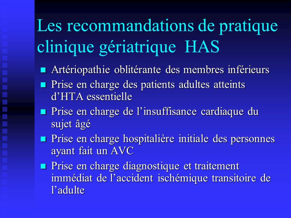 Les recommandations de pratique clinique gériatrique HAS Artériopathie oblitérante des membres inférieurs Artériopathie oblitérante des membres inféri