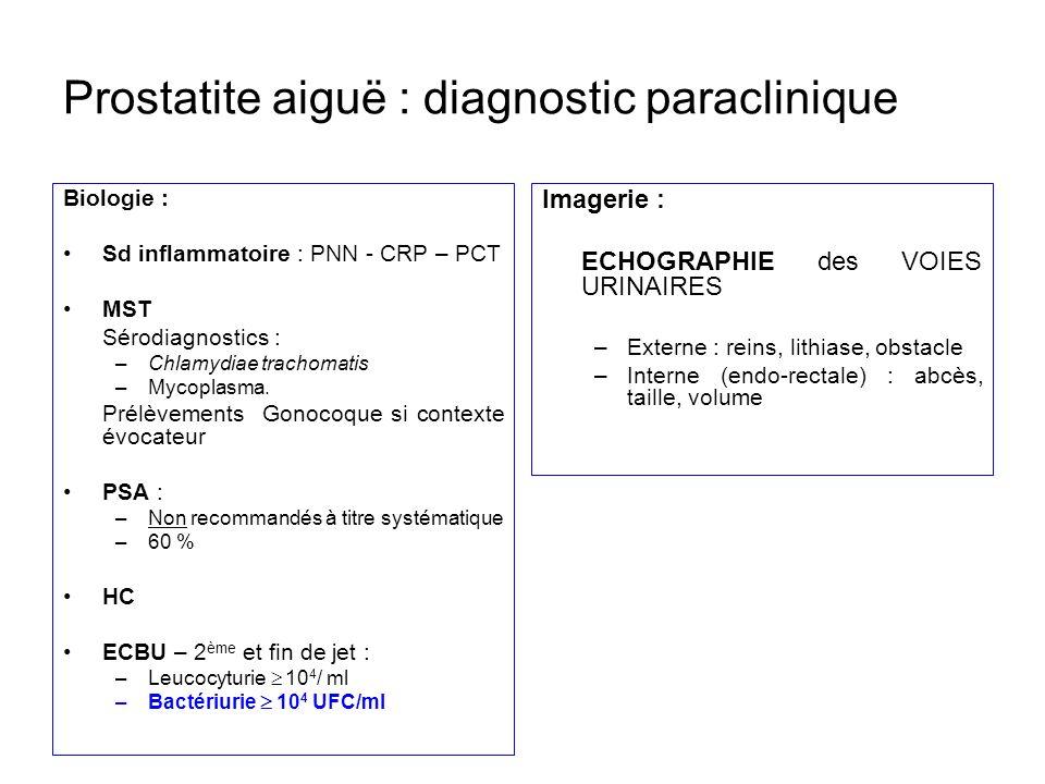 Prostatite aiguë : diagnostic paraclinique Biologie : Sd inflammatoire : PNN - CRP – PCT MST Sérodiagnostics : –Chlamydiae trachomatis –Mycoplasma. Pr