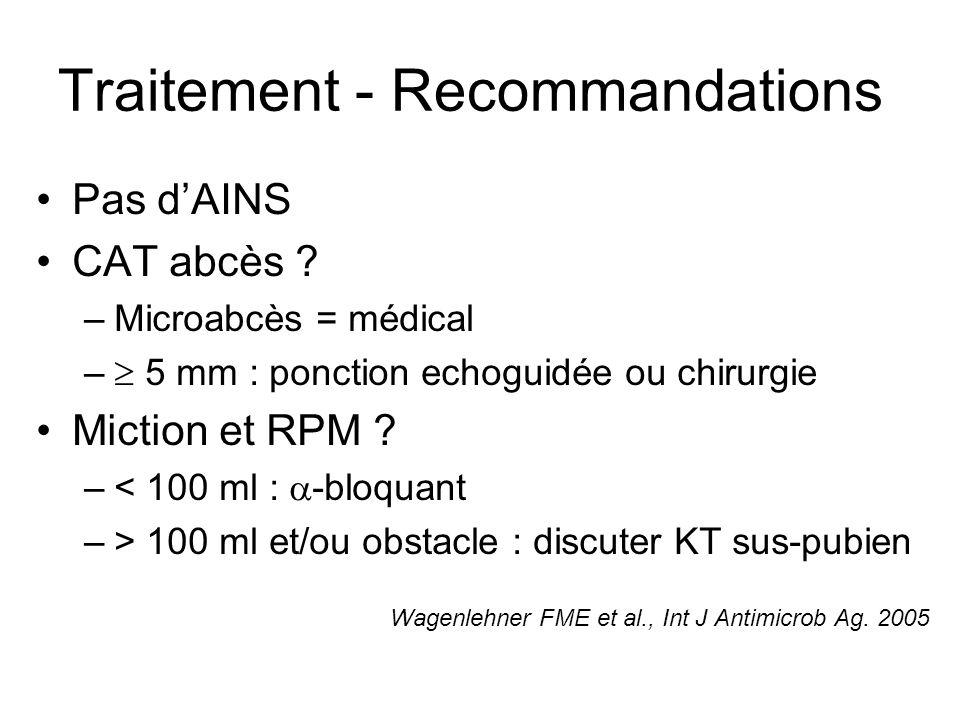 Traitement - Recommandations Pas dAINS CAT abcès ? –Microabcès = médical – 5 mm : ponction echoguidée ou chirurgie Miction et RPM ? –< 100 ml : -bloqu