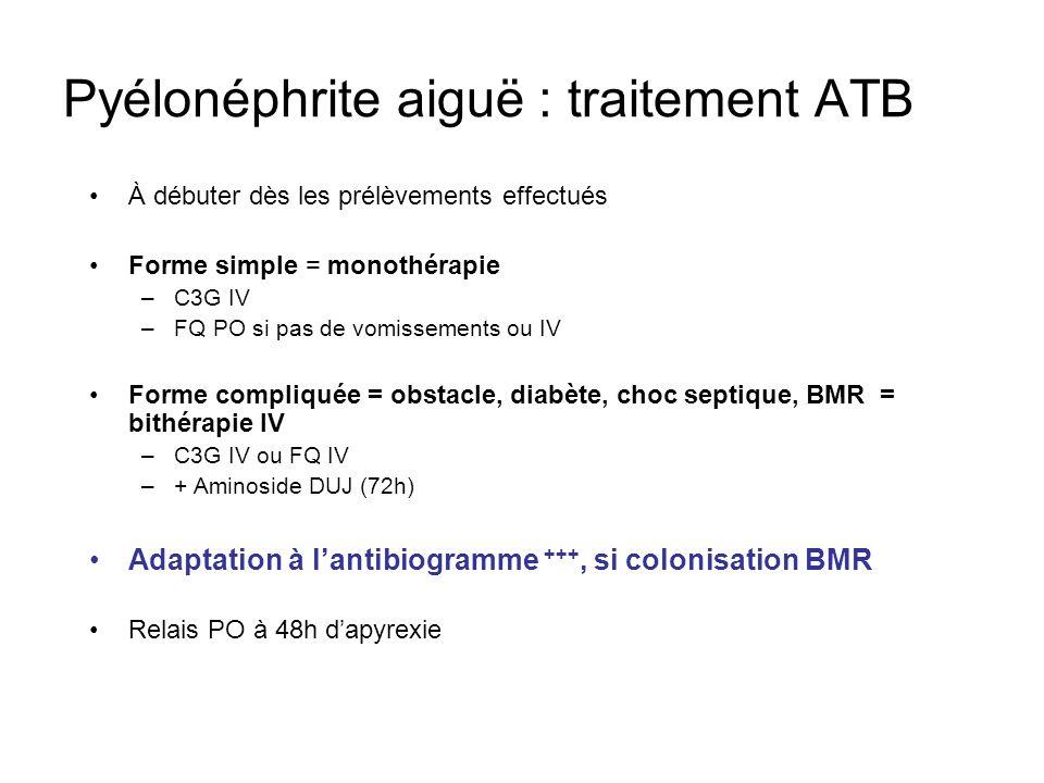 Pyélonéphrite aiguë : traitement ATB À débuter dès les prélèvements effectués Forme simple = monothérapie –C3G IV –FQ PO si pas de vomissements ou IV