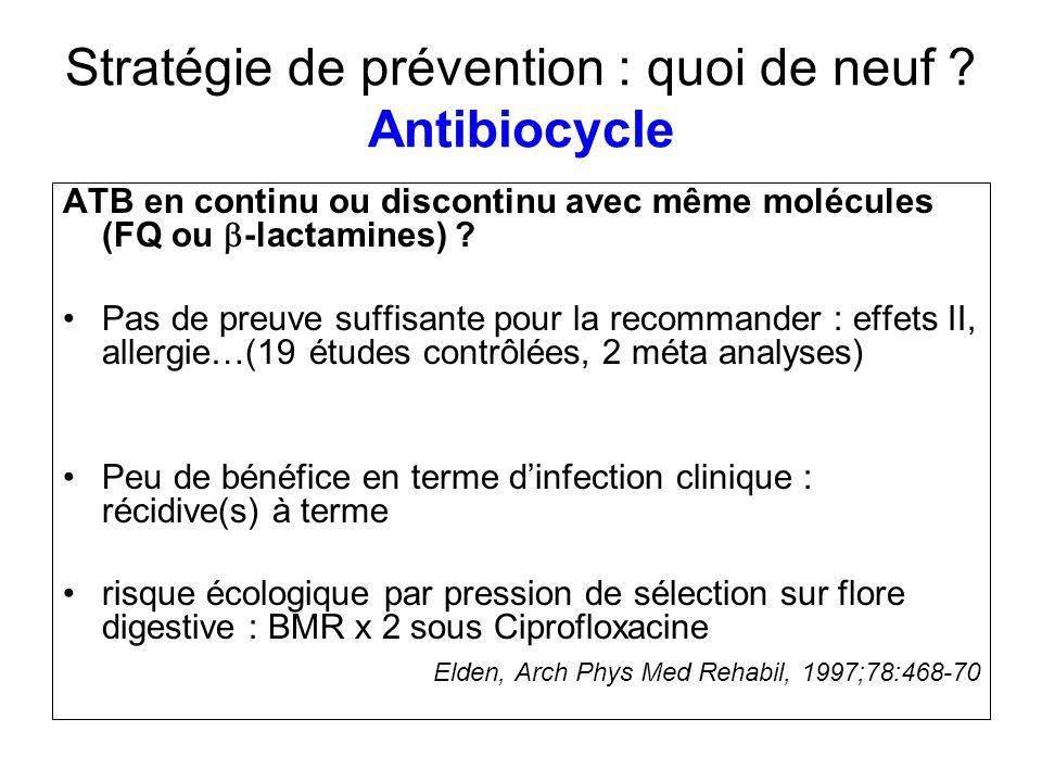 Stratégie de prévention : quoi de neuf ? Antibiocycle ATB en continu ou discontinu avec même molécules (FQ ou -lactamines) ? Pas de preuve suffisante