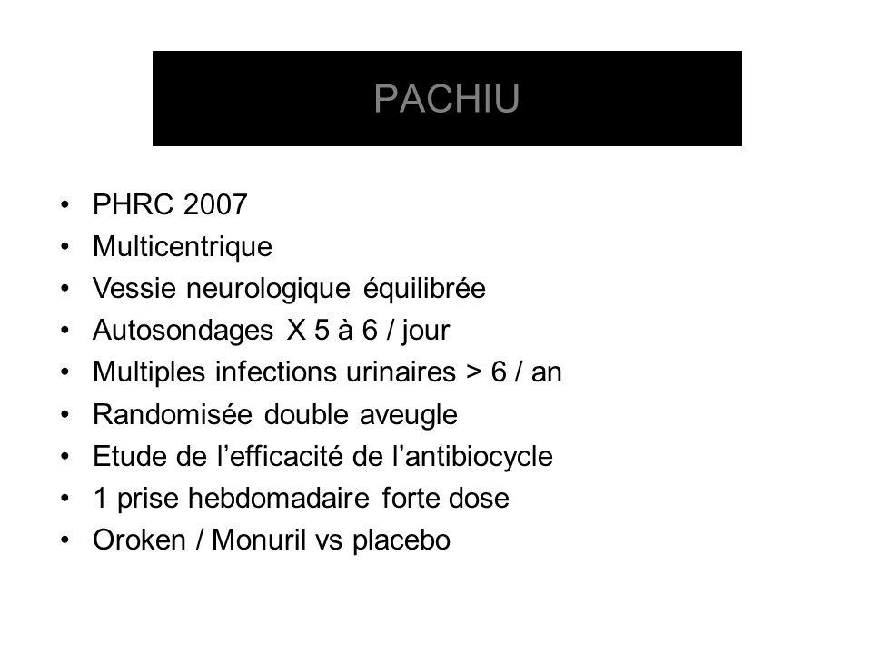 PHRC 2007 Multicentrique Vessie neurologique équilibrée Autosondages X 5 à 6 / jour Multiples infections urinaires > 6 / an Randomisée double aveugle