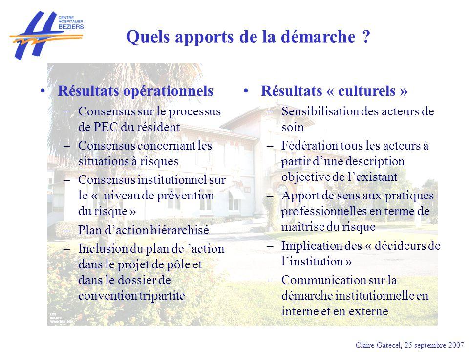 Claire Gatecel, 25 septembre 2007 Quels apports de la démarche ? Résultats opérationnels –Consensus sur le processus de PEC du résident –Consensus con
