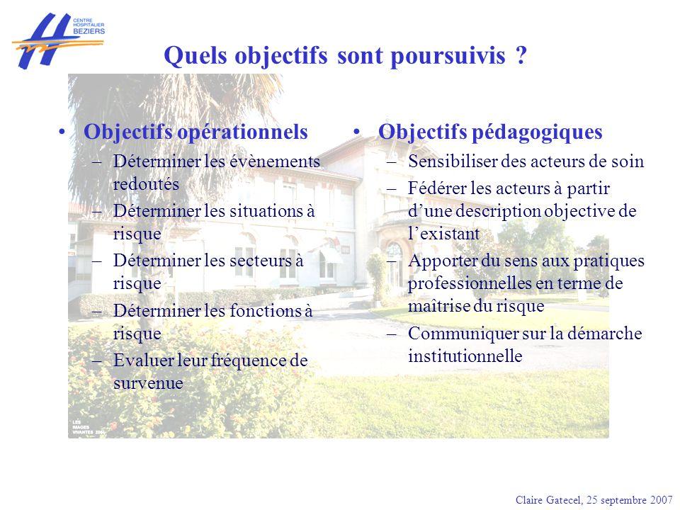Quels objectifs sont poursuivis ? Objectifs opérationnels –Déterminer les évènements redoutés –Déterminer les situations à risque –Déterminer les sect