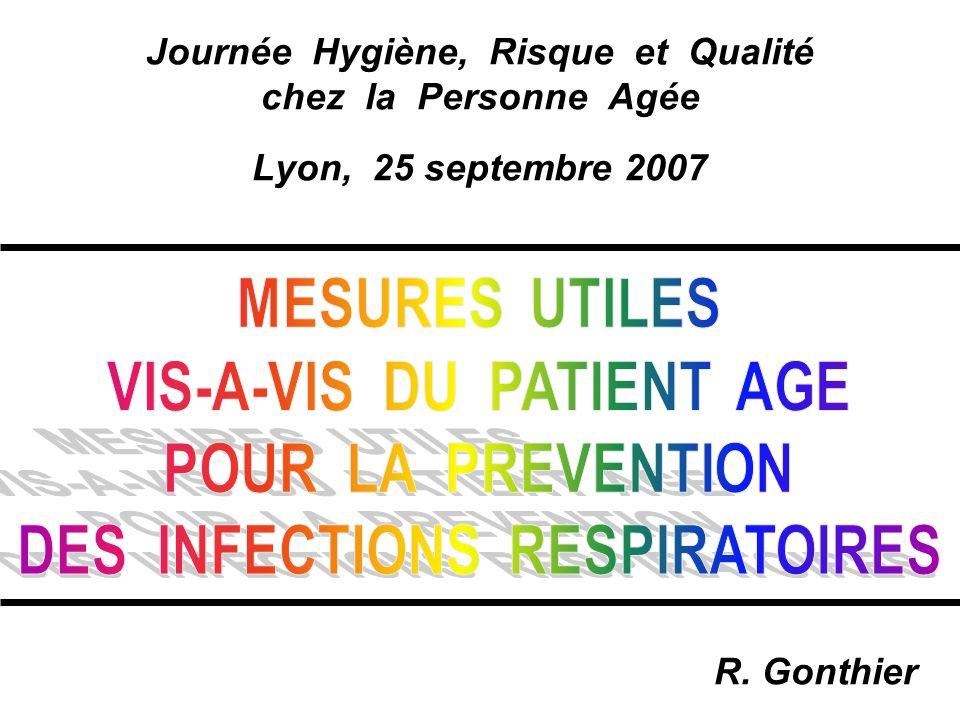 Journée Hygiène, Risque et Qualité chez la Personne Agée Lyon, 25 septembre 2007 R. Gonthier