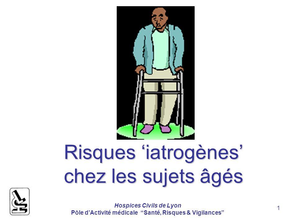 Hospices Civils de Lyon Pôle dActivité médicale Santé, Risques & Vigilances 2 Les risques associés aux soins sont plus fréquents chez les patients plus âgés Risques< 65ans>= 65 ansRR Erreurs diagnostiques 2.7%4.8%1.73 Complications post-op 13.6%30.5%2.25 Complic.