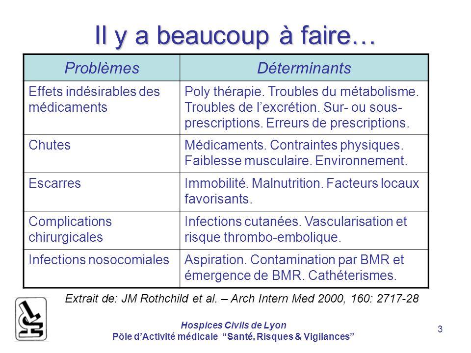 Hospices Civils de Lyon Pôle dActivité médicale Santé, Risques & Vigilances 3 Il y a beaucoup à faire… ProblèmesDéterminants Effets indésirables des médicaments Poly thérapie.