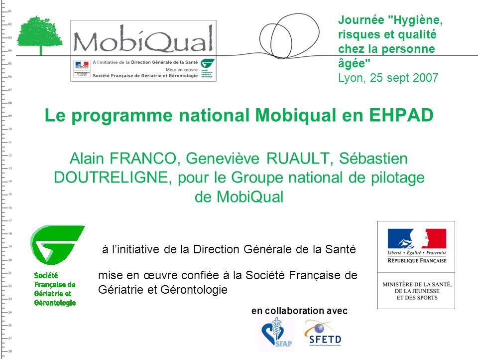 Le programme national Mobiqual en EHPAD Alain FRANCO, Geneviève RUAULT, Sébastien DOUTRELIGNE, pour le Groupe national de pilotage de MobiQual à linit
