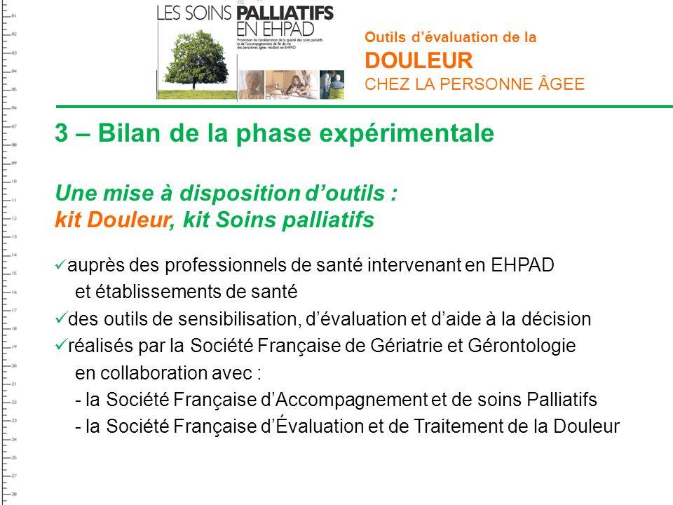 3 – Bilan de la phase expérimentale Une mise à disposition doutils : kit Douleur, kit Soins palliatifs auprès des professionnels de santé intervenant