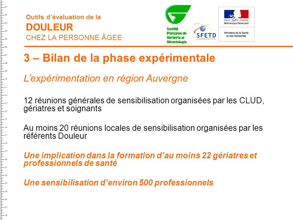 3 – Bilan de la phase expérimentale Lexpérimentation en région Auvergne 12 réunions générales de sensibilisation organisées par les CLUD, gériatres et