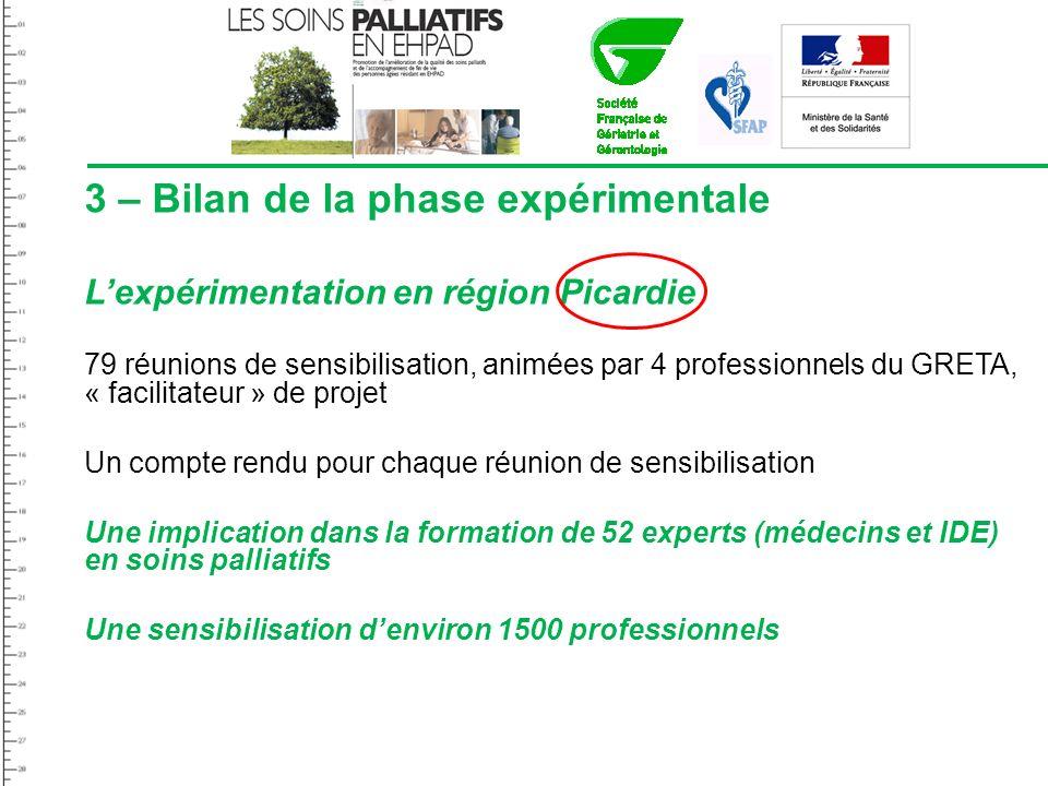 3 – Bilan de la phase expérimentale Lexpérimentation en région Picardie 79 réunions de sensibilisation, animées par 4 professionnels du GRETA, « facil