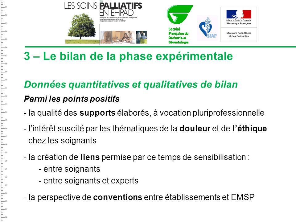 3 – Le bilan de la phase expérimentale Données quantitatives et qualitatives de bilan Parmi les points positifs - la qualité des supports élaborés, à