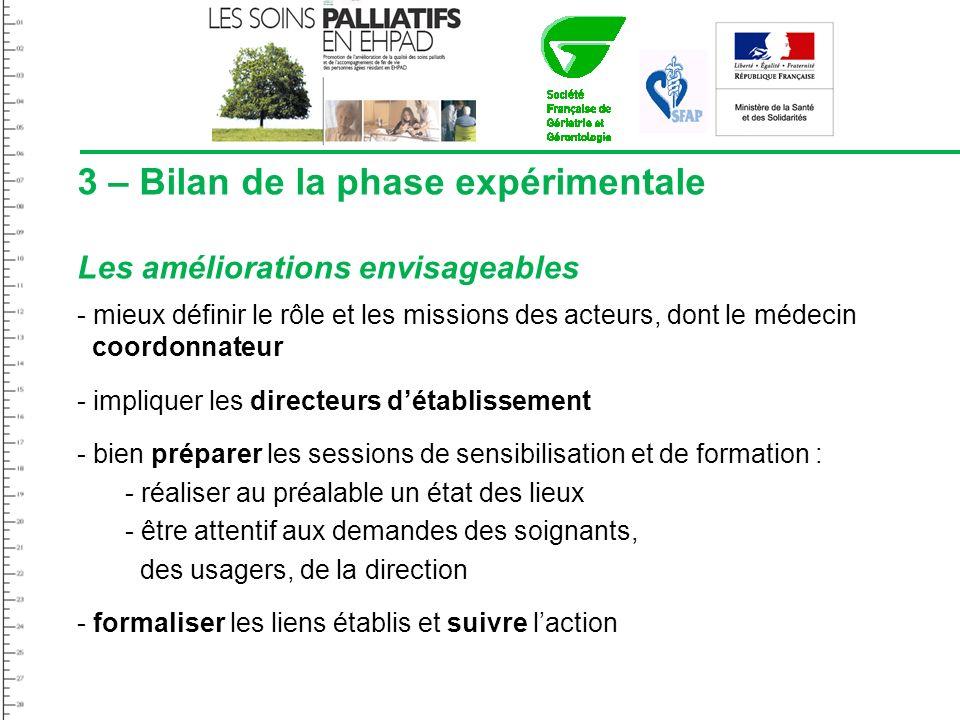 3 – Bilan de la phase expérimentale Les améliorations envisageables - mieux définir le rôle et les missions des acteurs, dont le médecin coordonnateur