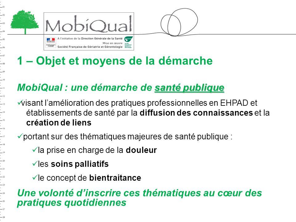 1 – Objet et moyens de la démarche santé publique MobiQual : une démarche de santé publique visant lamélioration des pratiques professionnelles en EHP