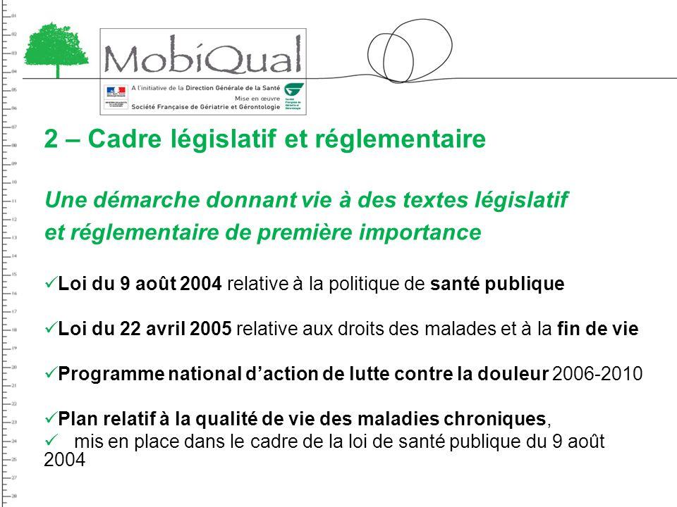 2 – Cadre législatif et réglementaire Une démarche donnant vie à des textes législatif et réglementaire de première importance Loi du 9 août 2004 rela