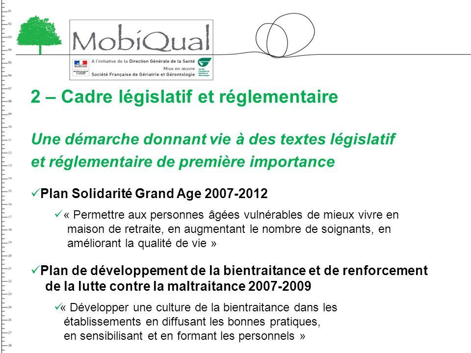 2 – Cadre législatif et réglementaire Une démarche donnant vie à des textes législatif et réglementaire de première importance Plan Solidarité Grand A
