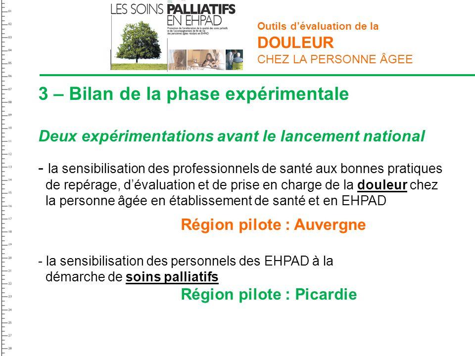 Outils dévaluation de la DOULEUR CHEZ LA PERSONNE ÂGEE 3 – Bilan de la phase expérimentale Deux expérimentations avant le lancement national - la sens