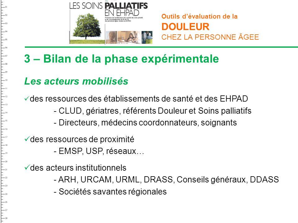 3 – Bilan de la phase expérimentale Les acteurs mobilisés des ressources des établissements de santé et des EHPAD - CLUD, gériatres, référents Douleur
