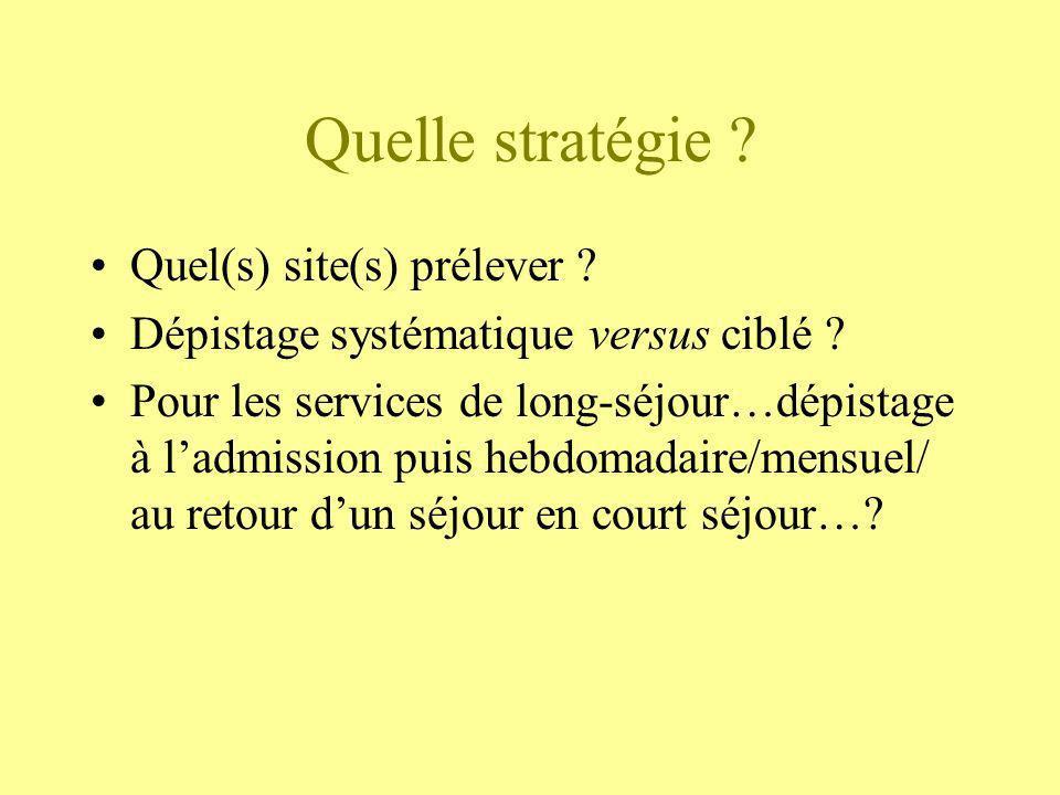 Quelle stratégie ? Quel(s) site(s) prélever ? Dépistage systématique versus ciblé ? Pour les services de long-séjour…dépistage à ladmission puis hebdo