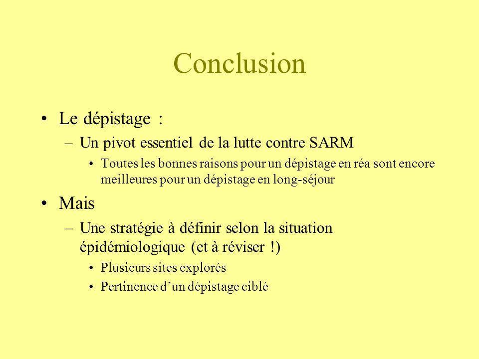 Conclusion Le dépistage : –Un pivot essentiel de la lutte contre SARM Toutes les bonnes raisons pour un dépistage en réa sont encore meilleures pour u