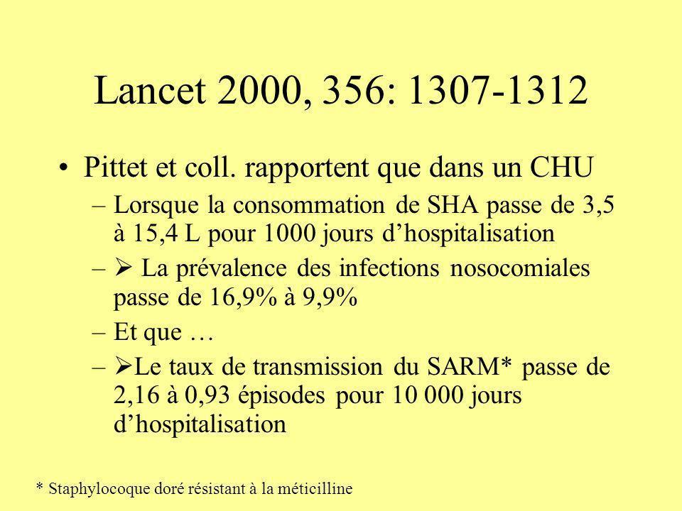 Lancet 2000, 356: 1307-1312 Pittet et coll. rapportent que dans un CHU –Lorsque la consommation de SHA passe de 3,5 à 15,4 L pour 1000 jours dhospital