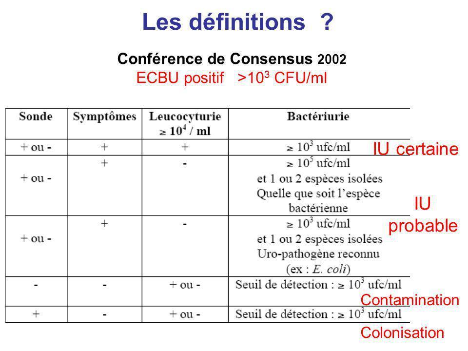 Les définitions ? Conférence de Consensus 2002 ECBU positif >10 3 CFU/ml IU certaine IU probable Contamination Colonisation