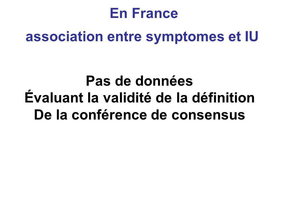 En France Pas de données Évaluant la validité de la définition De la conférence de consensus association entre symptomes et IU
