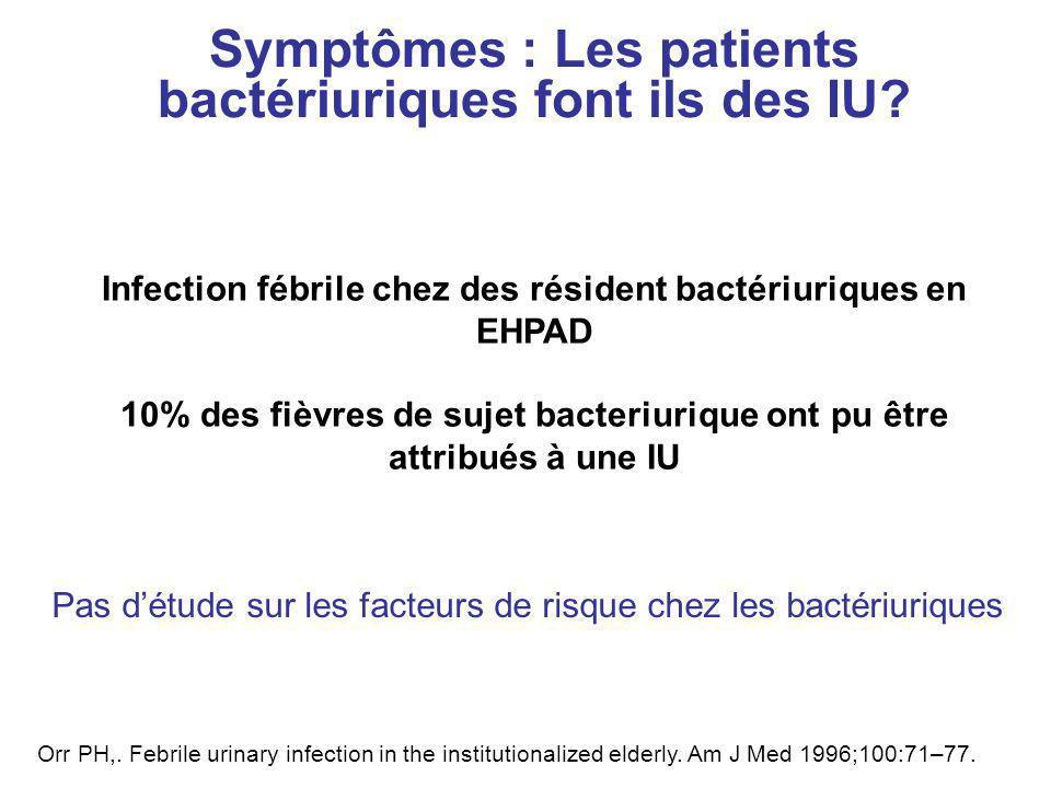 Symptômes : Les patients bactériuriques font ils des IU? Infection fébrile chez des résident bactériuriques en EHPAD 10% des fièvres de sujet bacteriu