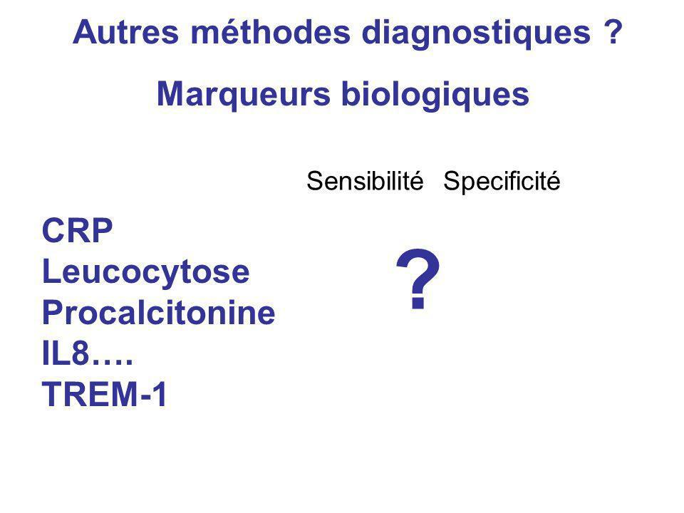 SensibilitéSpecificité Autres méthodes diagnostiques ? Marqueurs biologiques CRP Leucocytose Procalcitonine IL8…. TREM-1 ?