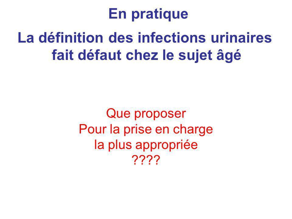 Que proposer Pour la prise en charge la plus appropriée ???? En pratique La définition des infections urinaires fait défaut chez le sujet âgé