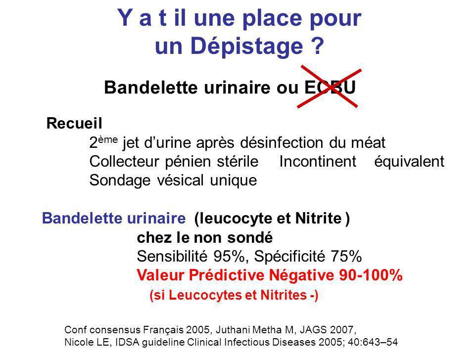 Bandelette urinaire ou ECBU Y a t il une place pour un Dépistage ? Recueil 2 ème jet durine après désinfection du méat Collecteur pénien stérileIncont