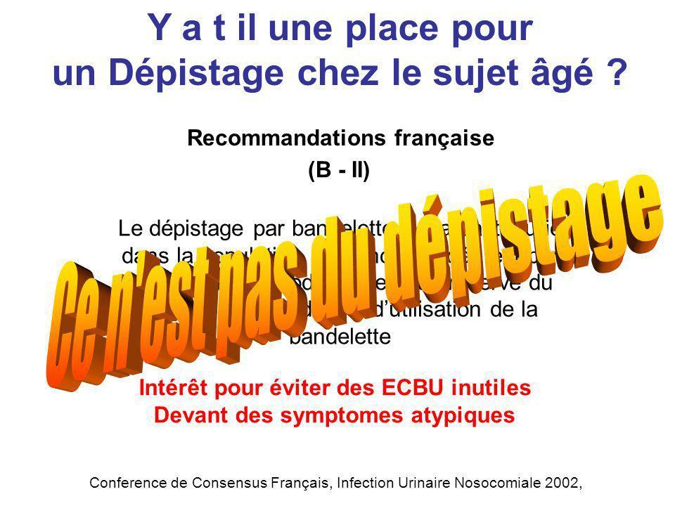 Recommandations française Y a t il une place pour un Dépistage chez le sujet âgé ? Conference de Consensus Français, Infection Urinaire Nosocomiale 20