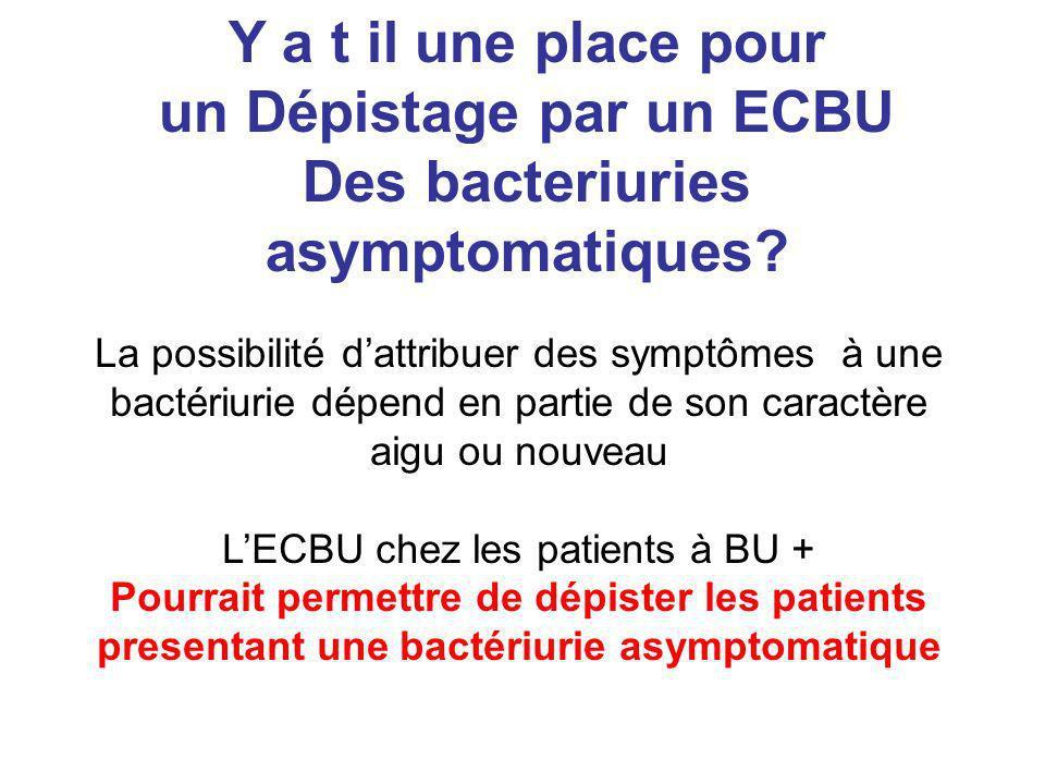 Y a t il une place pour un Dépistage par un ECBU Des bacteriuries asymptomatiques? La possibilité dattribuer des symptômes à une bactériurie dépend en
