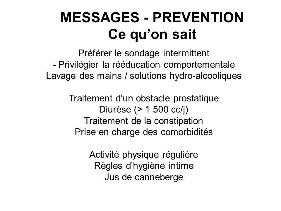 Préférer le sondage intermittent - Privilégier la rééducation comportementale Lavage des mains / solutions hydro-alcooliques Traitement dun obstacle p
