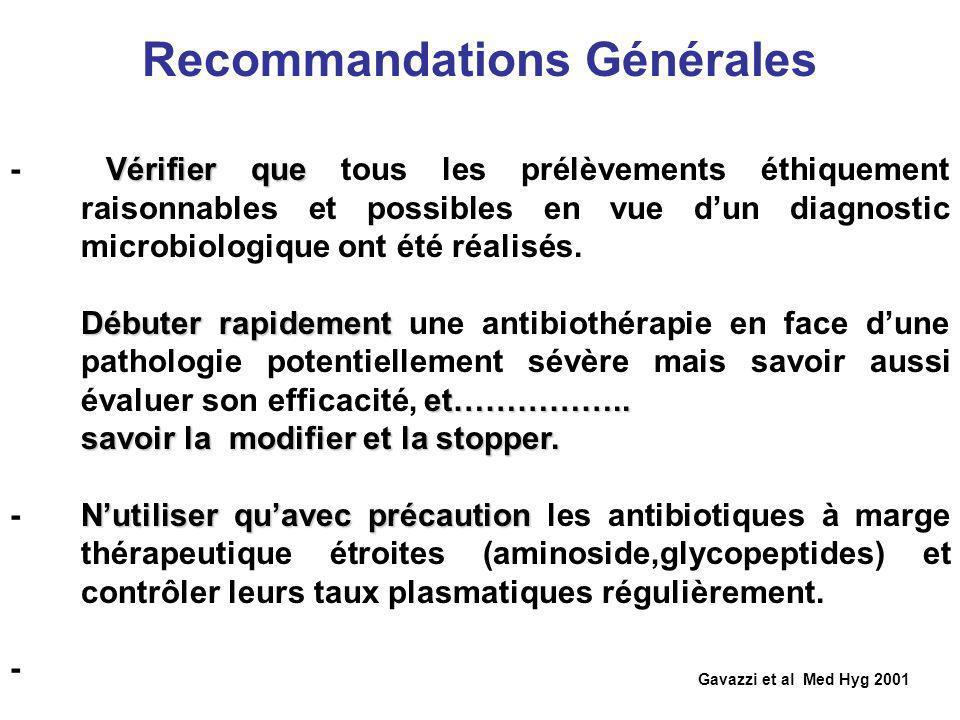 Recommandations Générales Gavazzi et al Med Hyg 2001 Vérifier que - Vérifier que tous les prélèvements éthiquement raisonnables et possibles en vue du