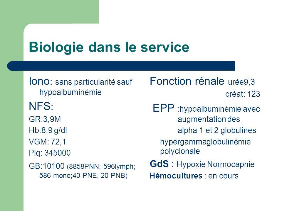 Biologie dans le service Iono : sans particularité sauf hypoalbuminémie NFS : GR:3,9M Hb:8,9 g/dl VGM: 72,1 Plq: 345000 GB:10100 (8858PNN; 596lymph; 586 mono;40 PNE, 20 PNB) Fonction rénale urée9,3 créat: 123 EPP :hypoalbuminémie avec augmentation des alpha 1 et 2 globulines hypergammaglobulinémie polyclonale GdS : Hypoxie Normocapnie Hémocultures : en cours