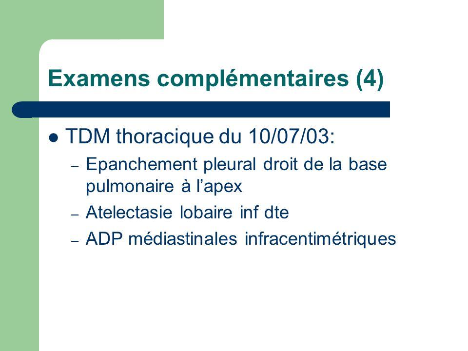 Examens complémentaires (4) TDM thoracique du 10/07/03: – Epanchement pleural droit de la base pulmonaire à lapex – Atelectasie lobaire inf dte – ADP médiastinales infracentimétriques