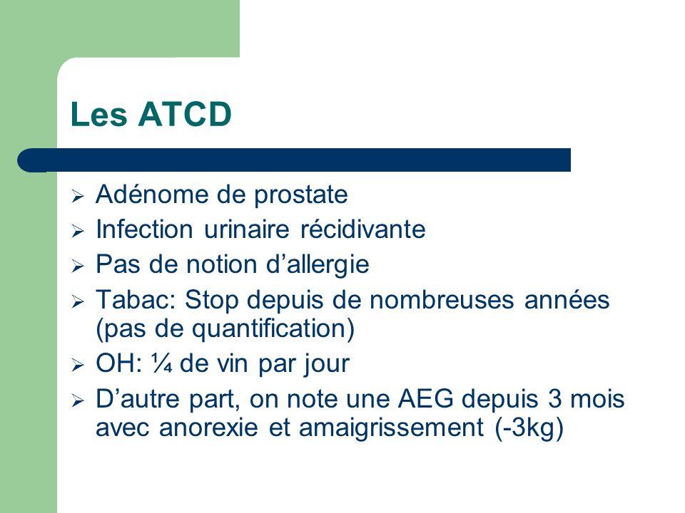Les ATCD Adénome de prostate Infection urinaire récidivante Pas de notion dallergie Tabac: Stop depuis de nombreuses années (pas de quantification) OH: ¼ de vin par jour Dautre part, on note une AEG depuis 3 mois avec anorexie et amaigrissement (-3kg)